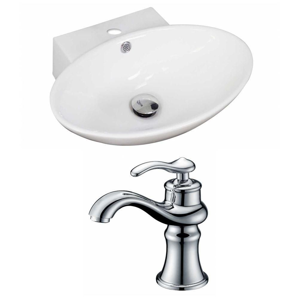 21-inch W x 15-inch D Oval Vessel Sink in White with Faucet