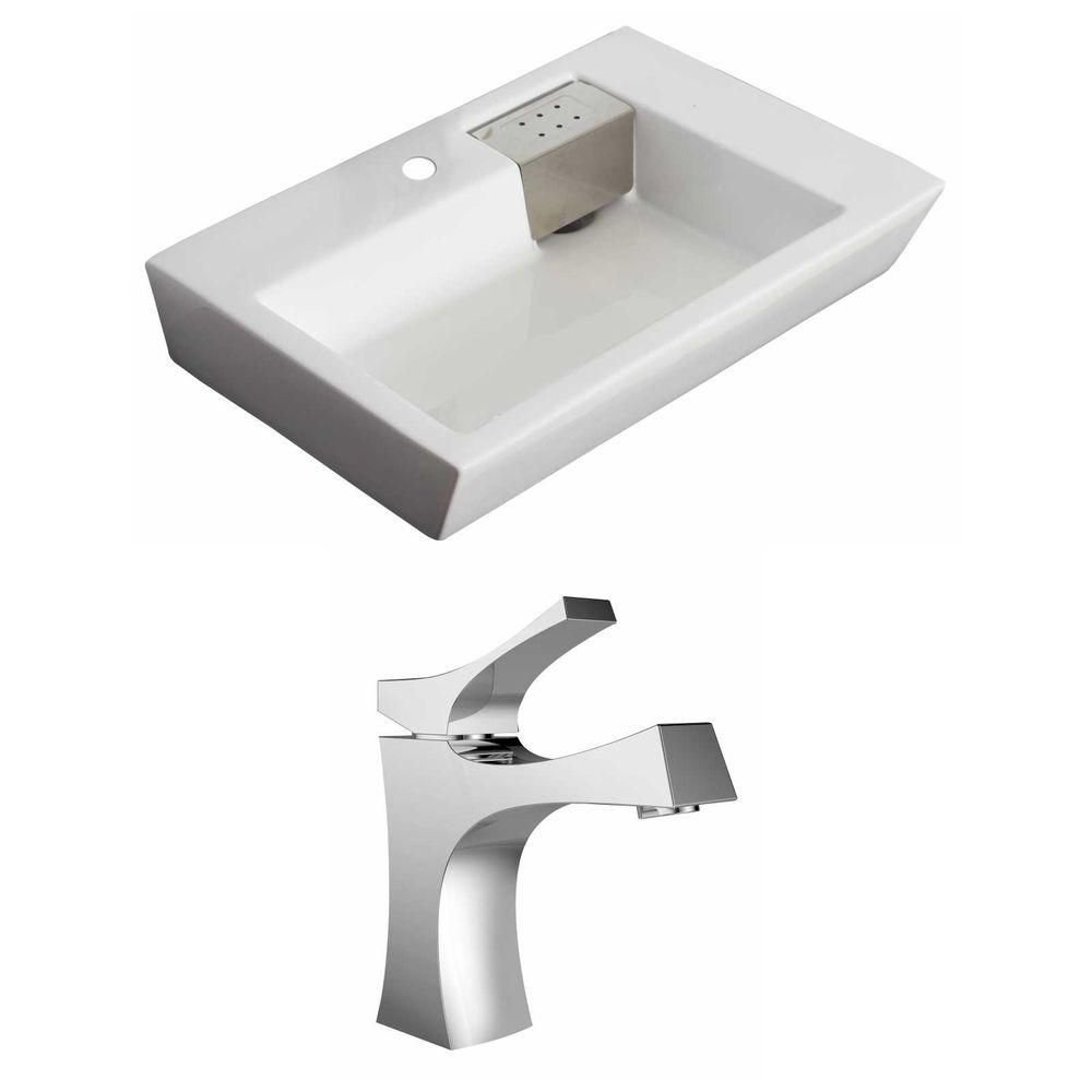 26-Inch W x 18-Inch D Rectangle Vessel Set In White Color With Single Hole CUPC Faucet AI-15147 Canada Discount