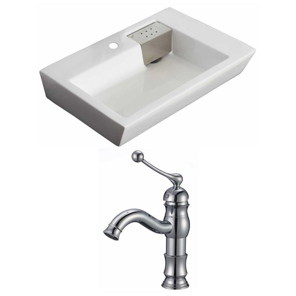 26-in. W x 18 po. D Rectangle navire Set In White Couleur Avec Single Hole CUPC Robinet