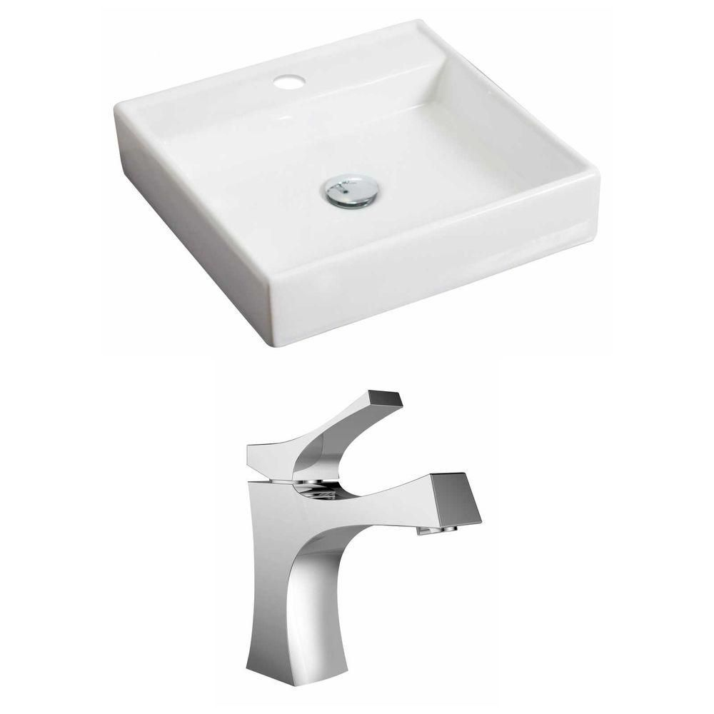 17 1/2-inch W x 17 1/2-inch D Square Vessel Sink in White with Faucet