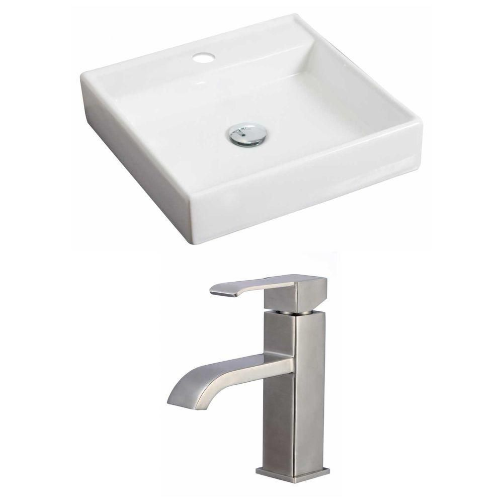 17.5-Inch W x 17.5-Inch D Square Vessel Set In White Color With Single Hole CUPC Faucet AI-15159 Canada Discount