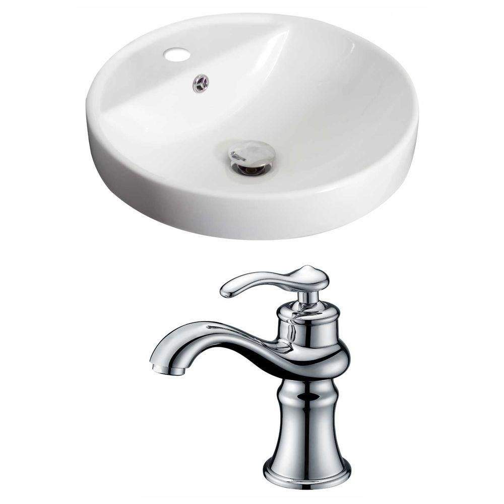 18 1/2-inch W x 18 1/2-inch D Round Vessel Sink in White with Faucet