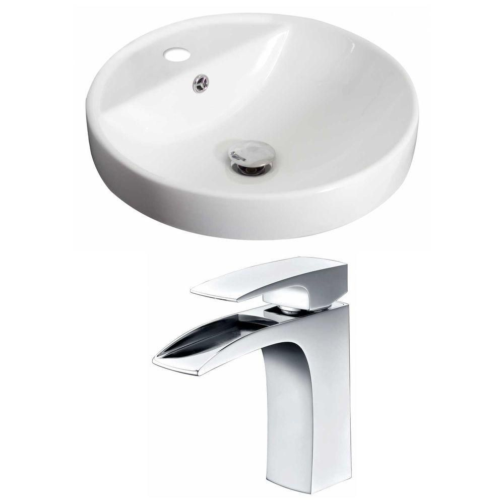 18.5-in. W x 18.5-in. D navire Round Set In White Couleur Avec Single Hole CUPC Robinet
