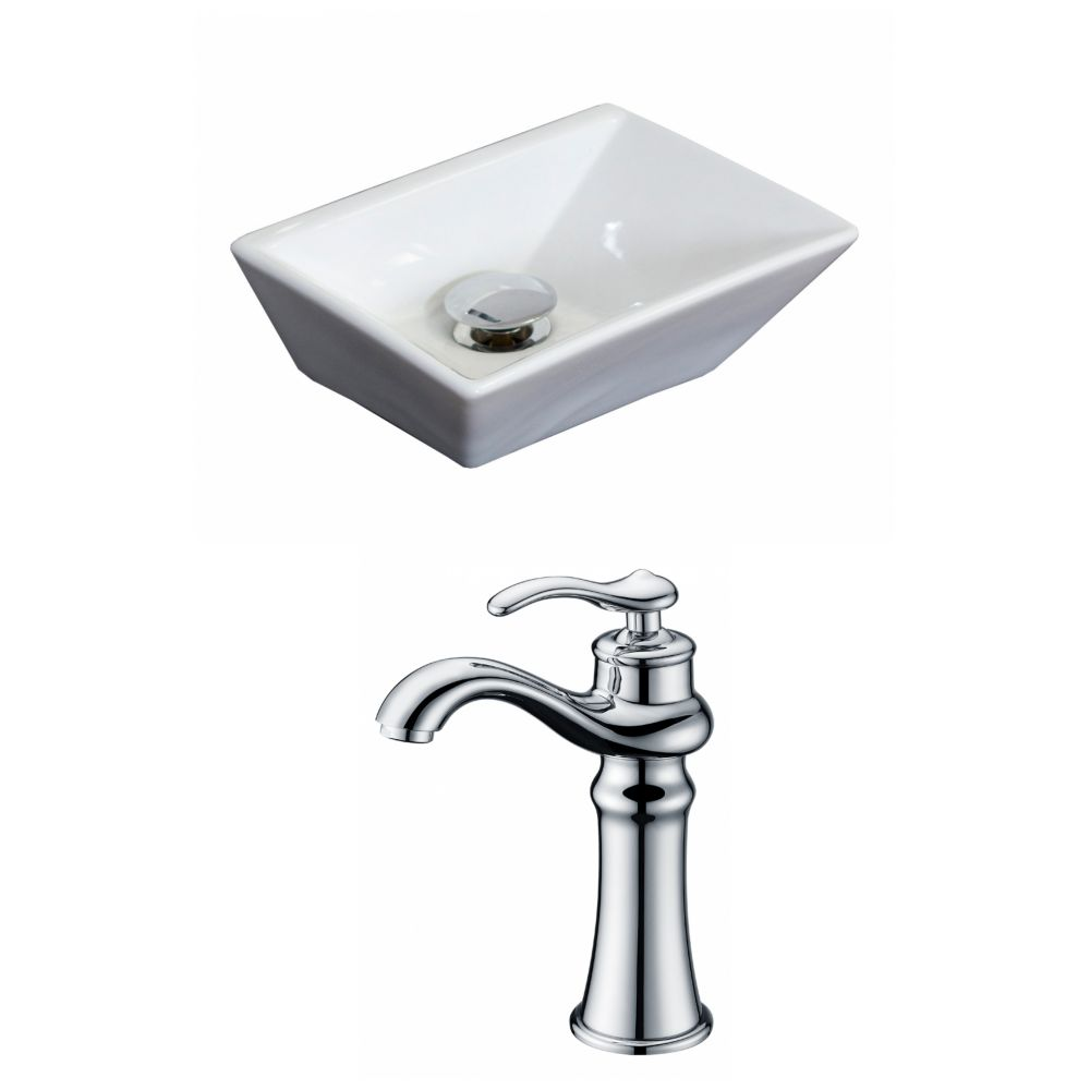 12-inch W x 9-inch D Rectangular Vessel Sink in White with Deck-Mount Faucet