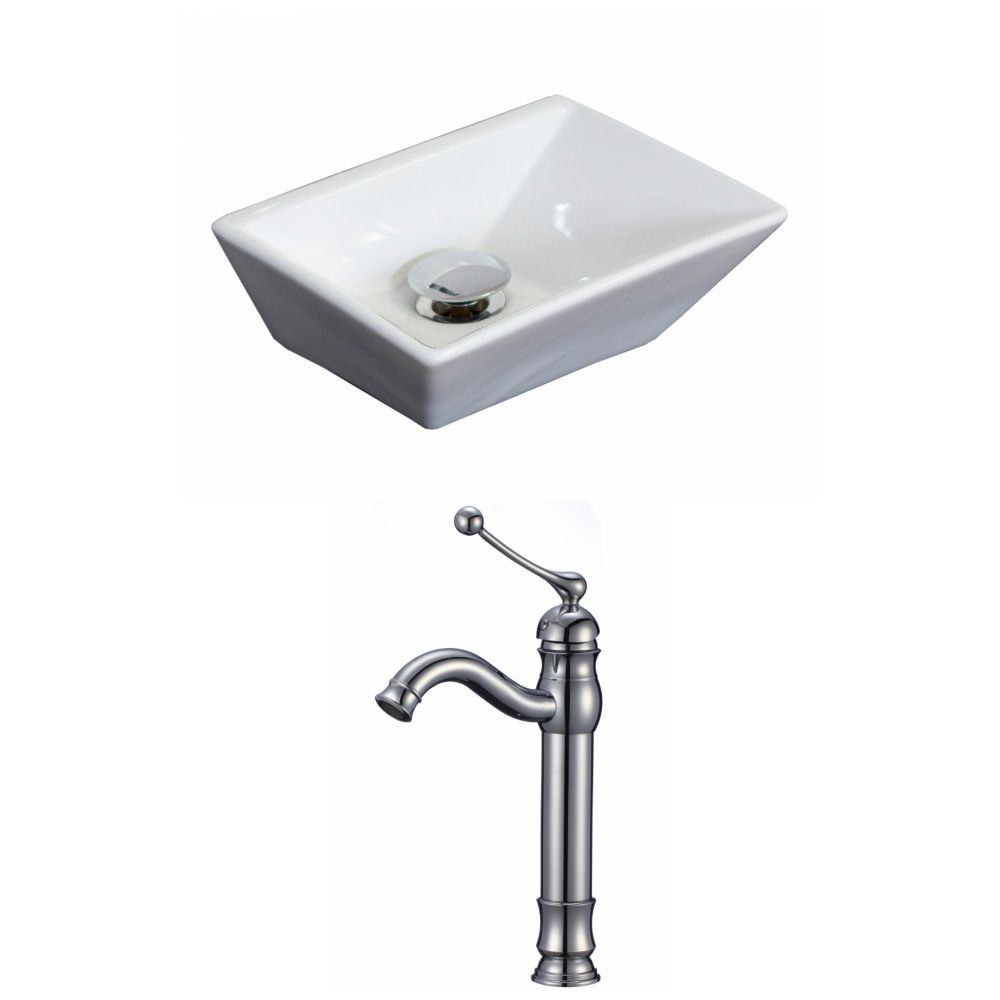 12-in. W x 9 po. D Rectangle navire Set In couleur blanche avec terrasse Mont CUPC Robinet