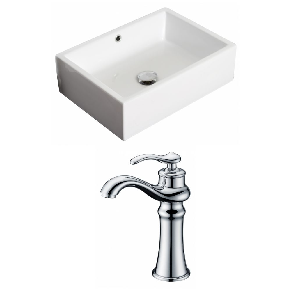American Imaginations 20-inch W x 14-inch D Rectangular Vessel Sink in White with Deck-Mount Faucet