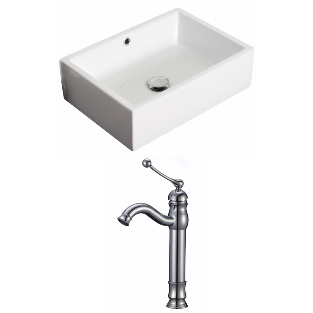 20-inch W x 14-inch D Rectangular Vessel Sink in White with Deck-Mount Faucet