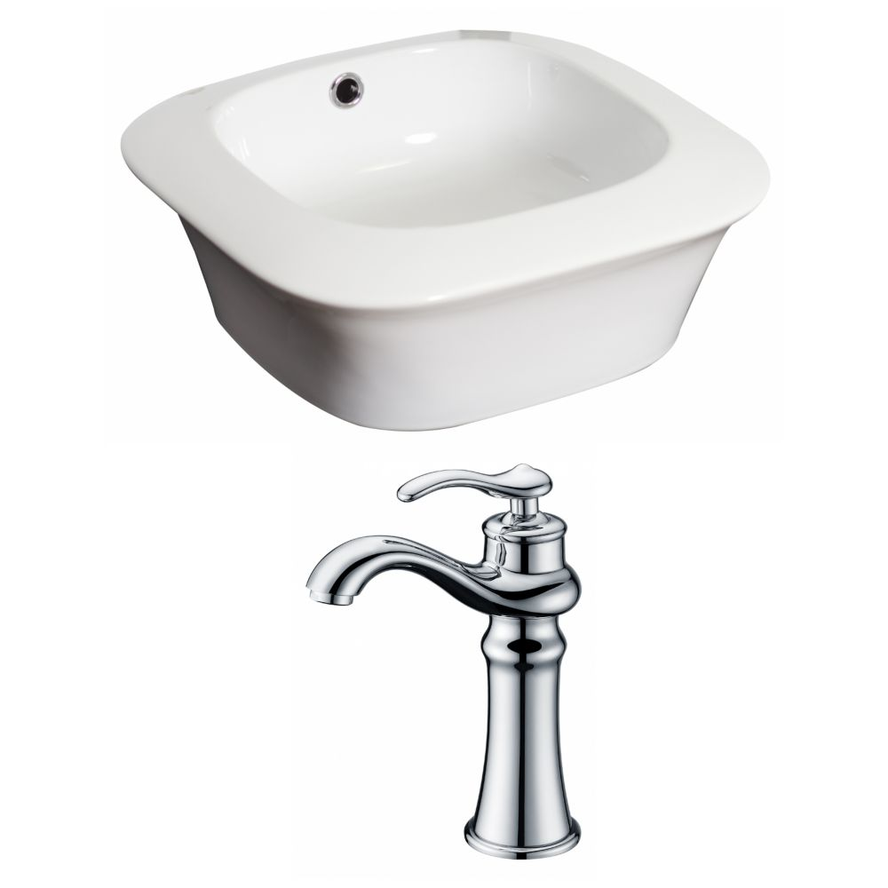 17-inch W x 17-inch D Square Vessel Sink in White with Deck-Mount Faucet