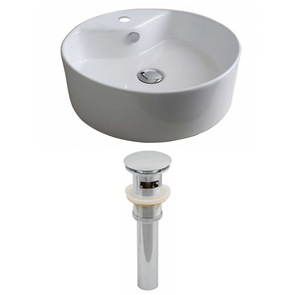 18-inch W x 18-inch D Round Vessel Sink in White with Drain
