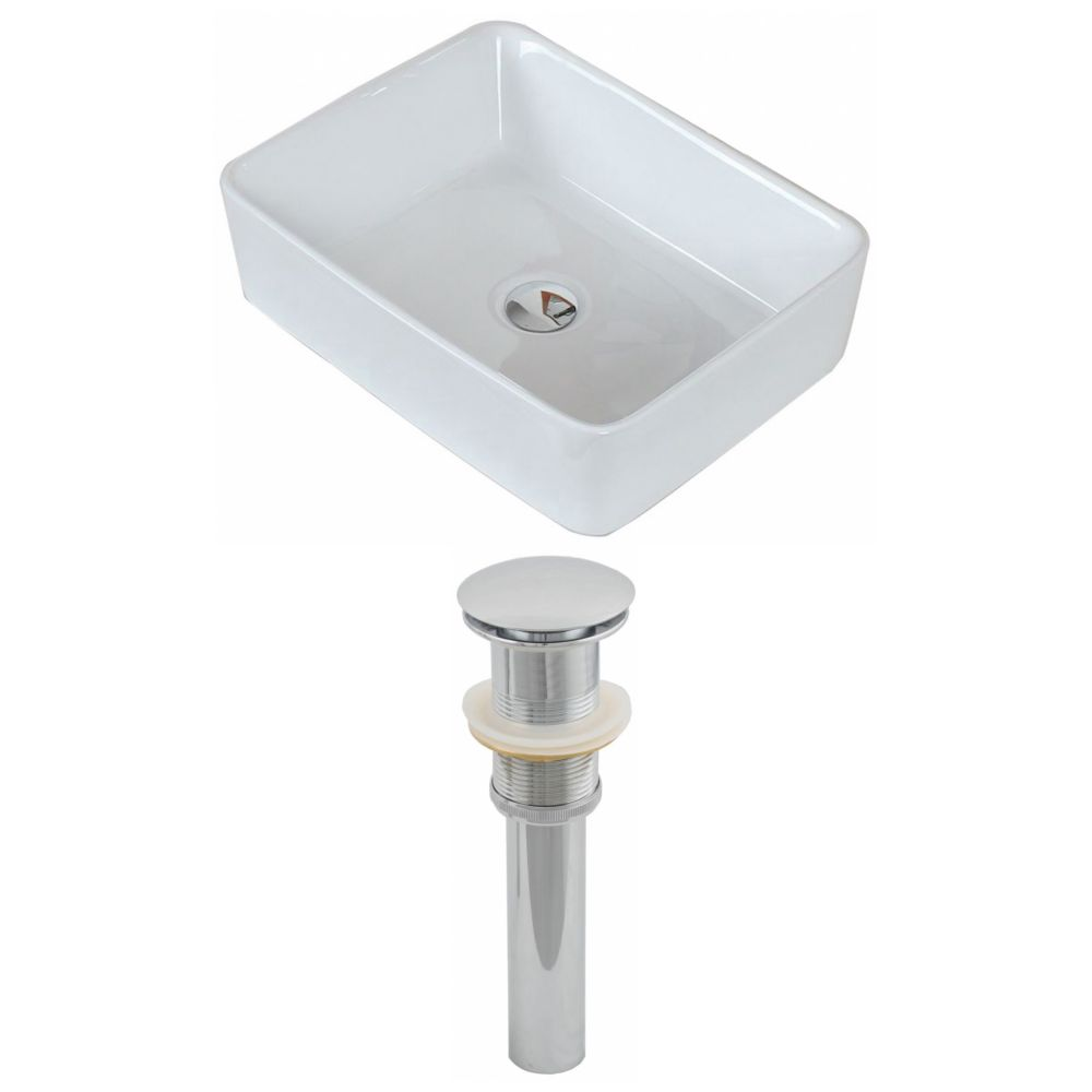 19-inch W x 14-inch D Rectangular Vessel Sink in White with Drain