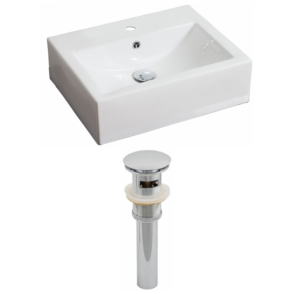 20 1/2-inch W x 16-inch D Rectangular Vessel Sink in White with Drain