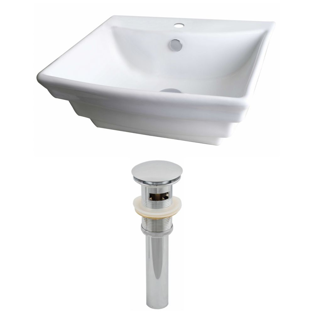 20-inch W x 18-inch D Rectangular Vessel Sink in White with Drain