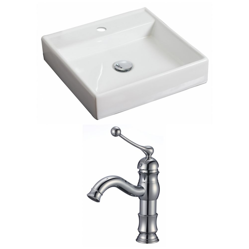 17,5-in. W x 17.5-in. Navire Square D Set In White Couleur Avec Single Hole CUPC Robinet