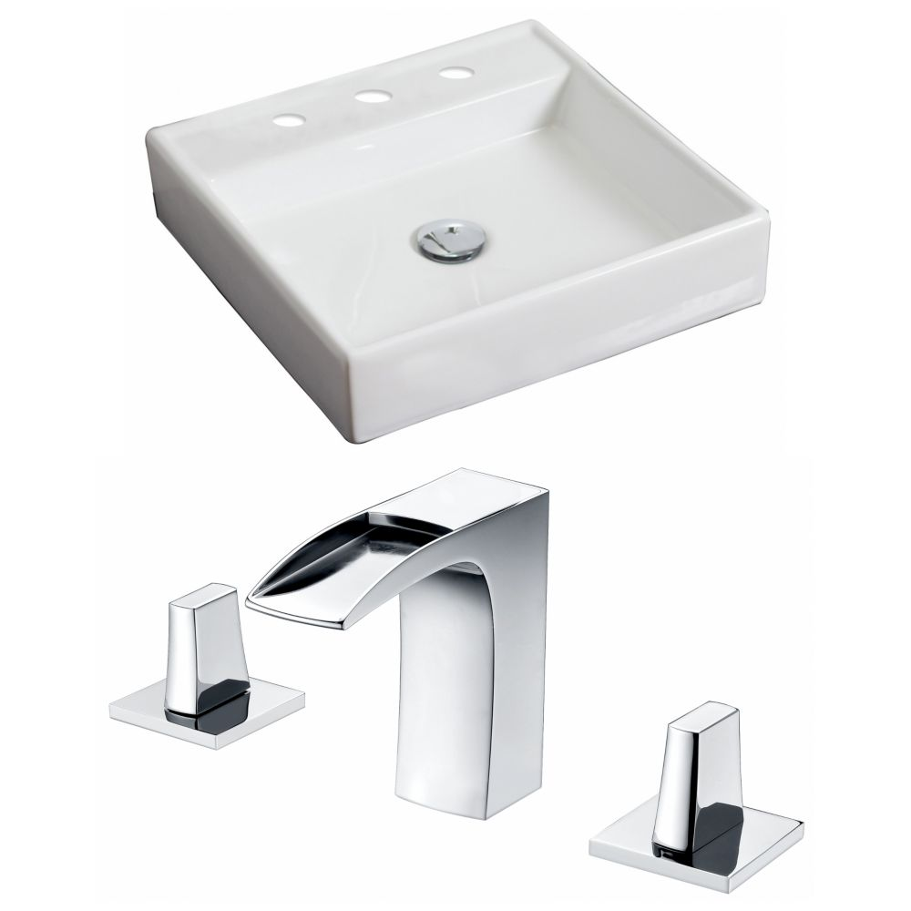 17,5-in. W x 17.5-in. Navire Square D Set In White Couleur Avec 8-in. O.C. Robinet CUPC