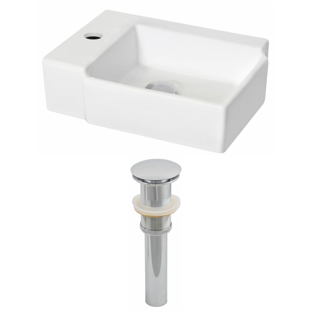 American Imaginations 16 1/4-inch W x 12-inch D Rectangular Vessel Sink in White with Drain