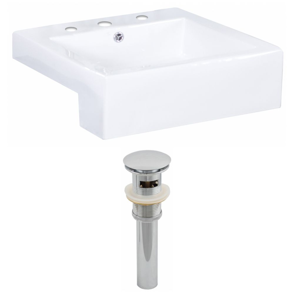 American Imaginations 20-inch W x 20-inch D Rectangular Vessel Sink in White with Drain