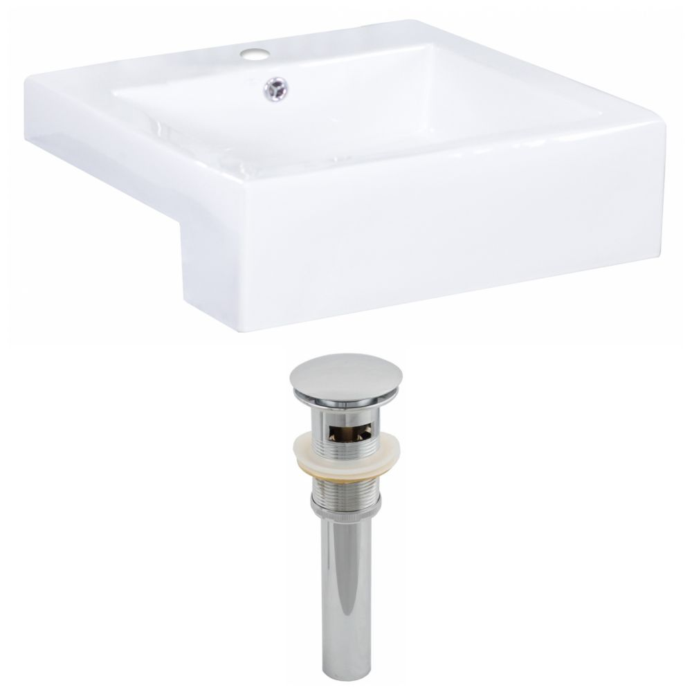 20-inch W x 20-inch D Rectangular Vessel Sink in White with Drain