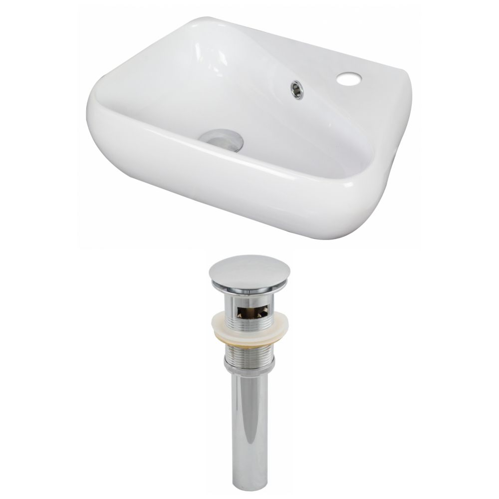 19-inch W x 11-inch D Vessel Sink in White with Drain