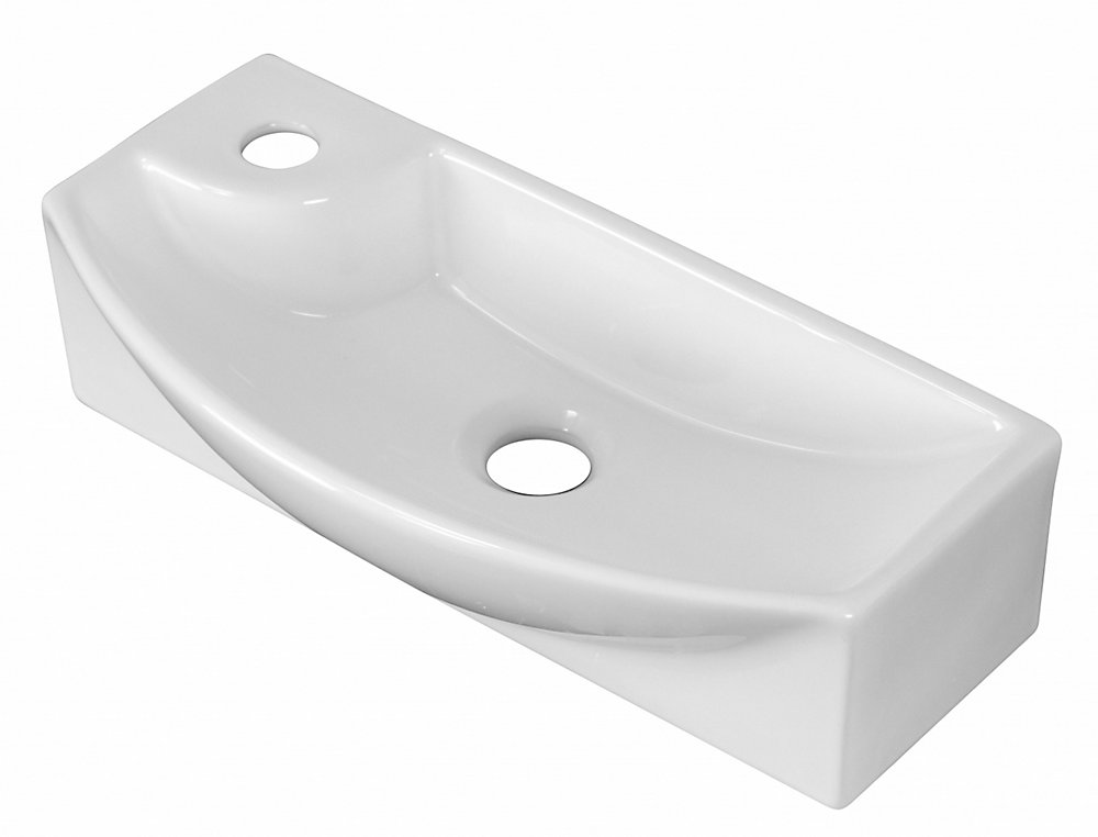 18-inch W x 9-inch D Rectangular Vessel Sink in White with Drain