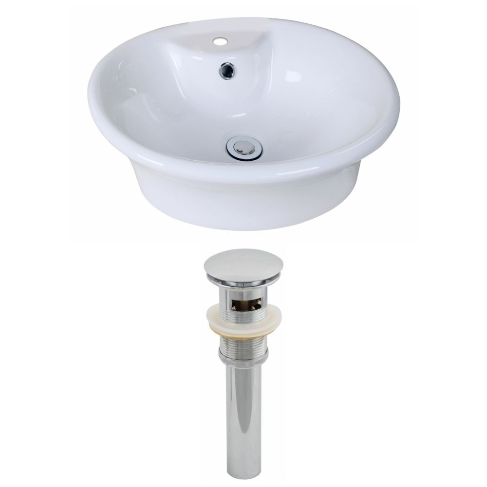 19-inch W x 15-inch D Oval Vessel Sink in White with Drain