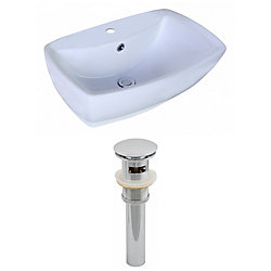 American Imaginations 21 5/8-inch W x 15 3/8-inch D Rectangular Vessel Sink in White with Drain