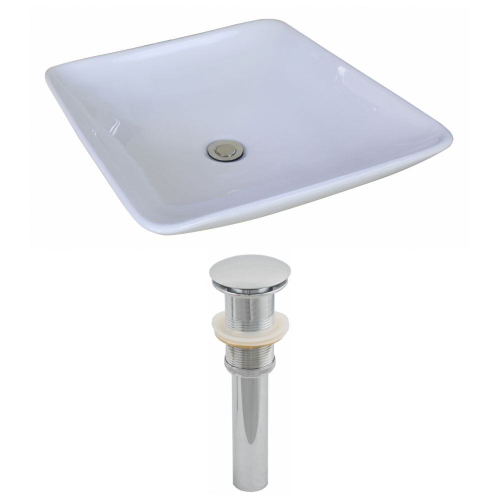 19 5/8-inch W x 19 5/8-inch D Square Vessel Sink in White with Drain