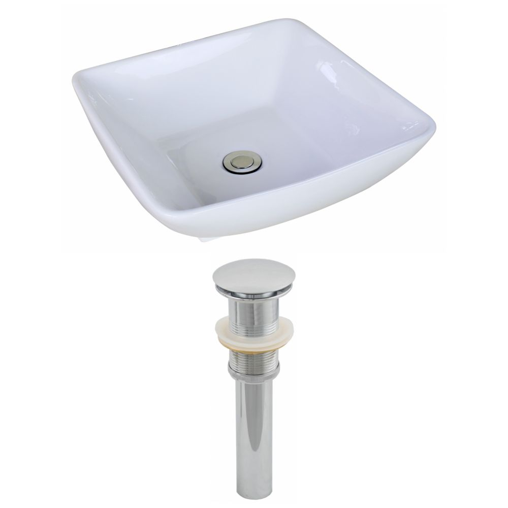 American Imaginations 16 1/2-inch W x 16 1/2-inch D Square Vessel Sink in White with Drain