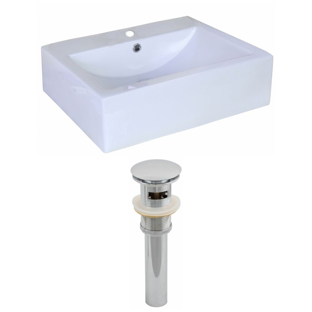 20-inch W x 16 3/8-inch D Rectangular Vessel Sink in White with Drain