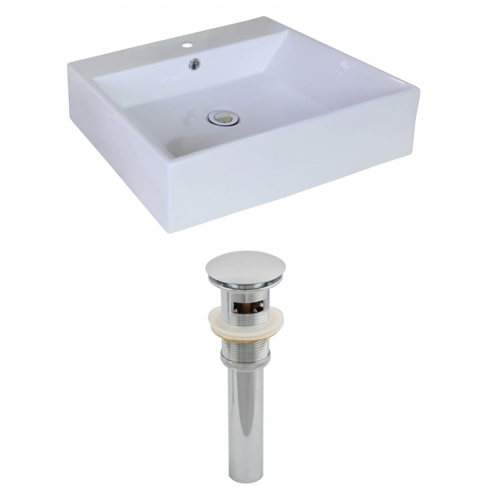 20-inch W x 16 1/2-inch D Rectangular Vessel Sink in White with Drain