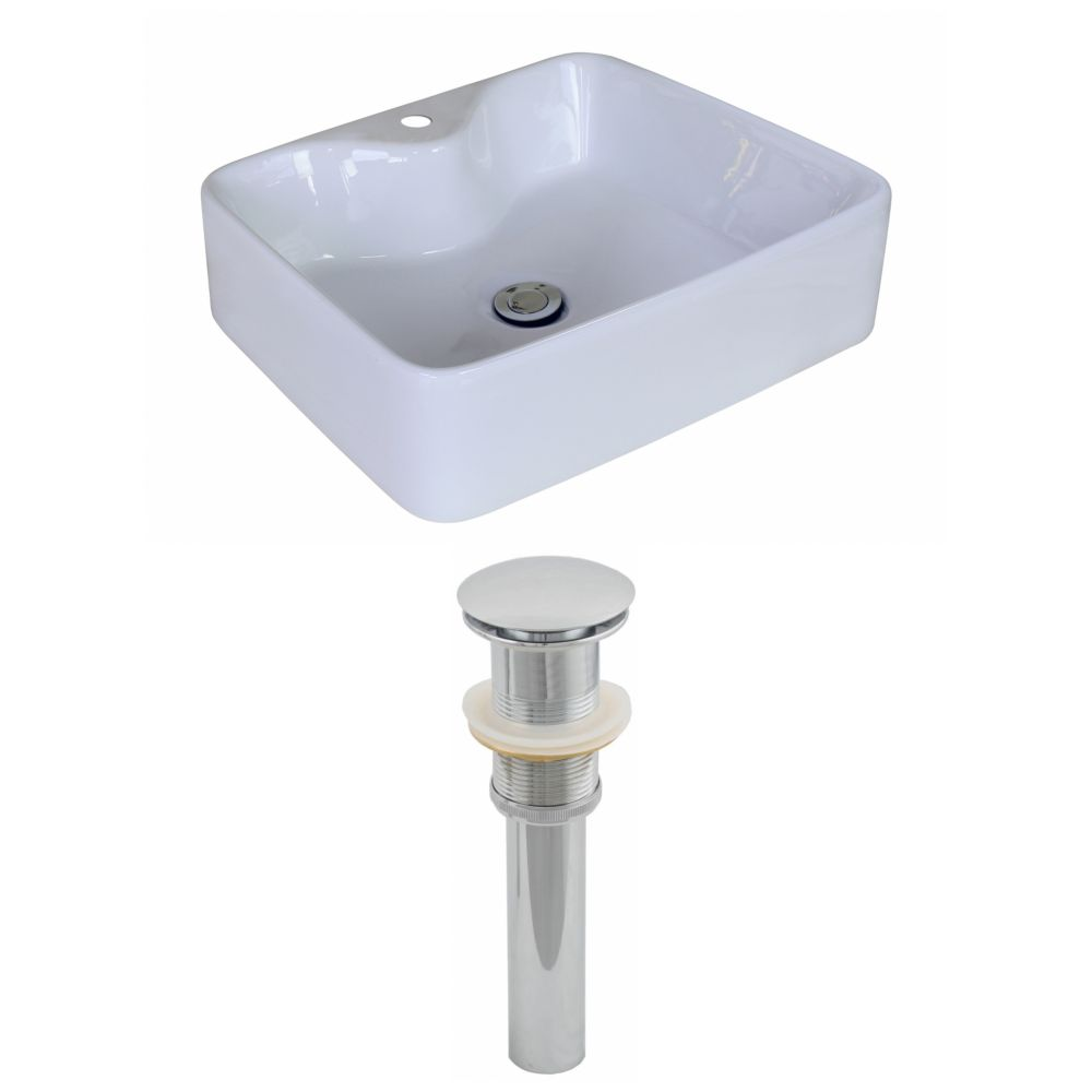 19-inch W x 15-inch D Rectangular Vessel Sink in White with Drain