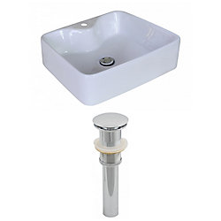 American Imaginations 19-inch W x 15-inch D Rectangular Vessel Sink in White with Drain