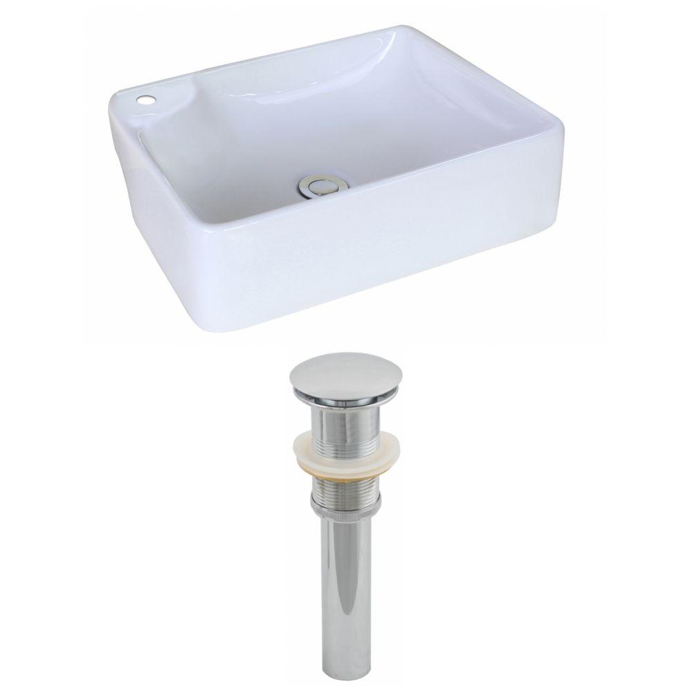 17 3/8-inch W x 13 3/8-inch D Rectangular Vessel Sink with Drain