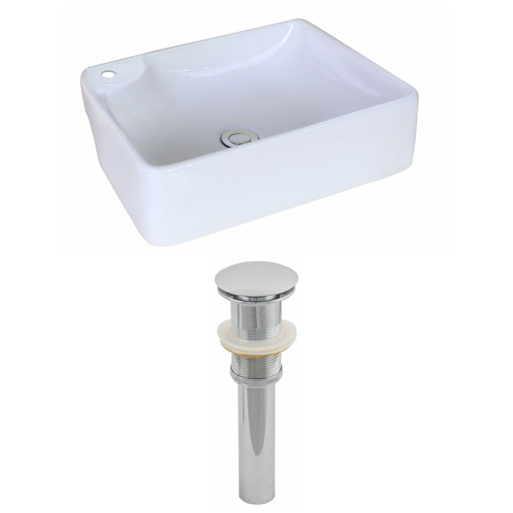 17 3/8-inch W x 13 3/8-inch D Rectangular Vessel Sink with Drain