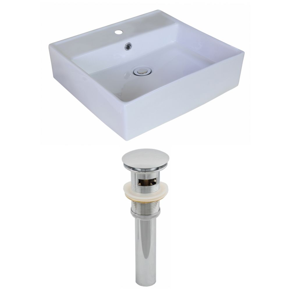 18-inch W x 18-inch D Rectangular Vessel Sink in White with Drain
