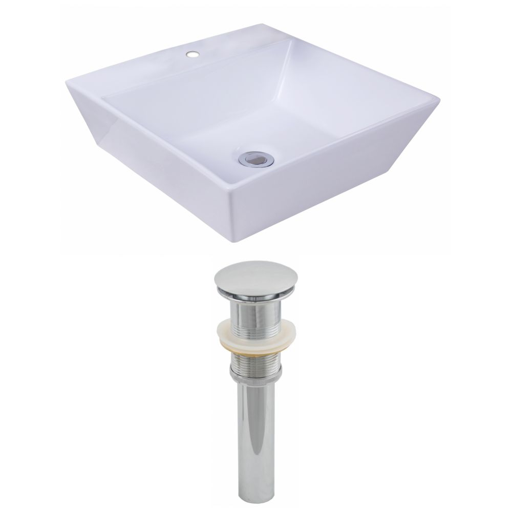 16 7/8-inch W x 16 7/8-inch D Square Vessel Sink in White with Drain