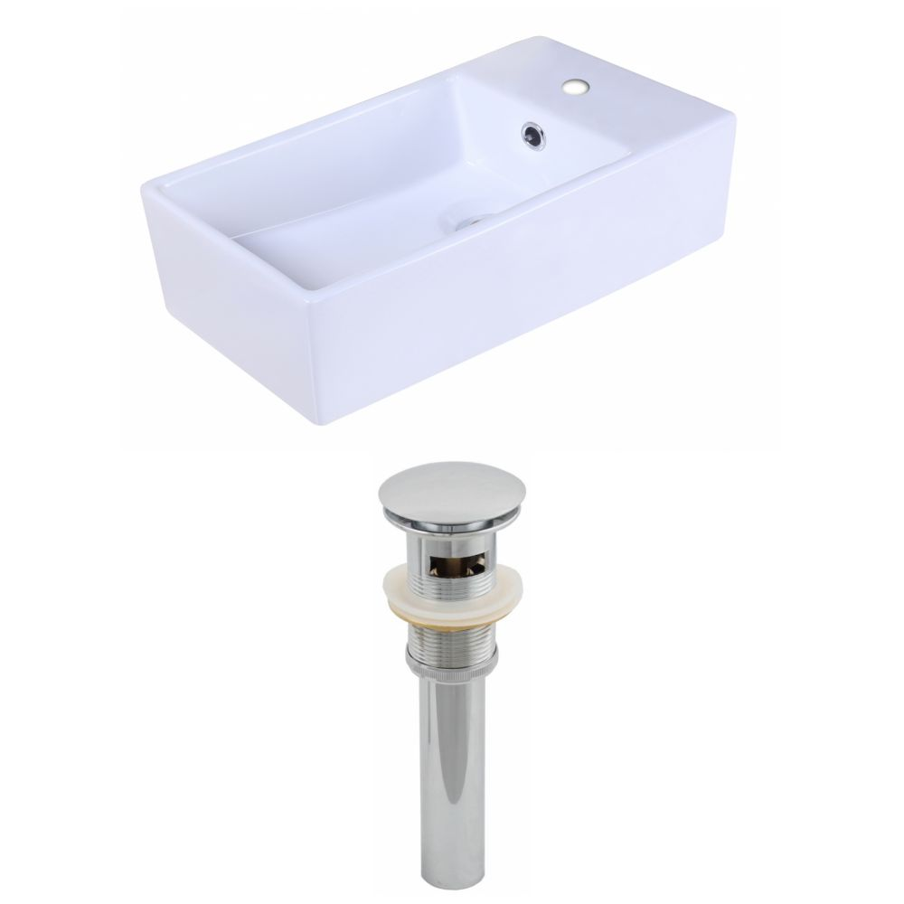 19-inch W x 9 1/2-inch D Rectangular Vessel Sink in White with Drain
