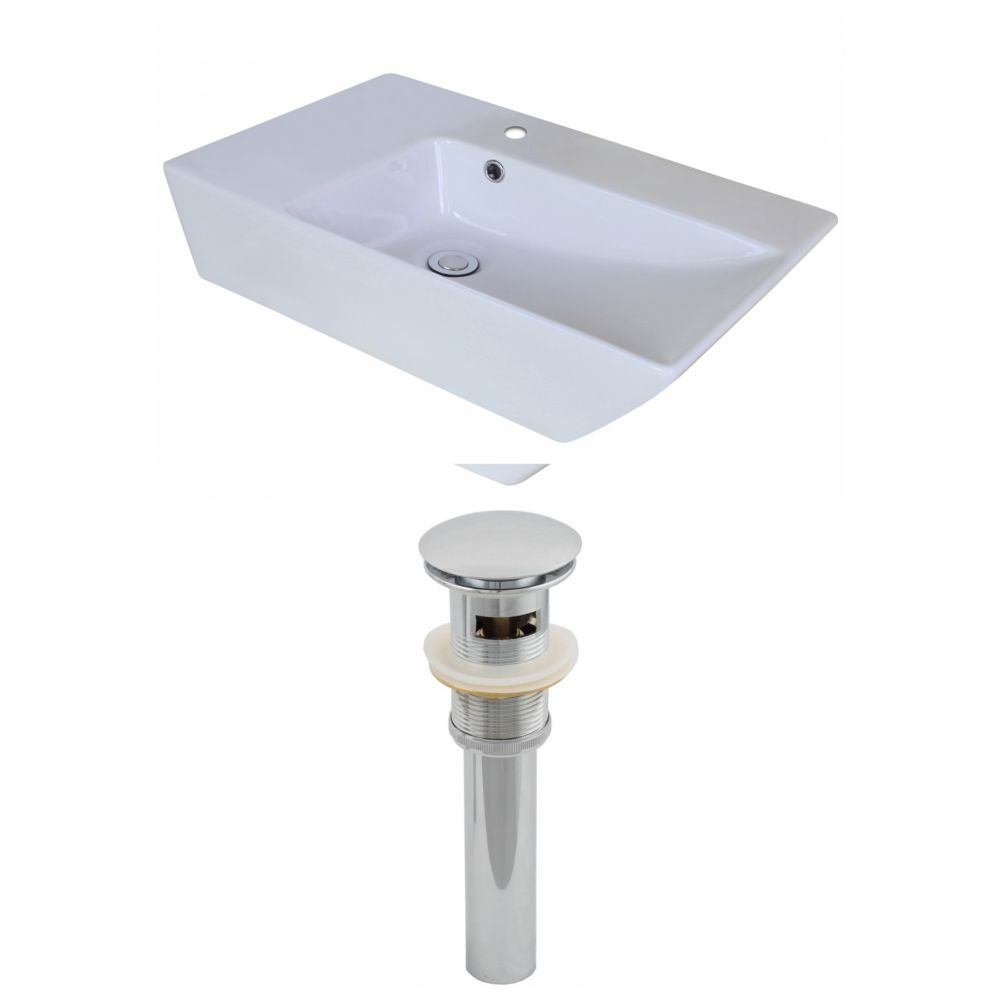 25-inch W x 15-inch D Rectangular Vessel Sink in White with Drain