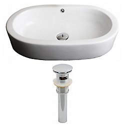 American Imaginations 25-inch W x 15-inch D Oval Vessel Sink in White with Drain