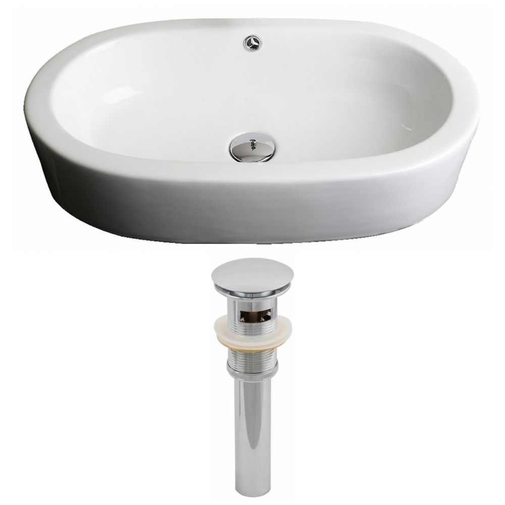 25-inch W x 15-inch D Oval Vessel Sink in White with Drain
