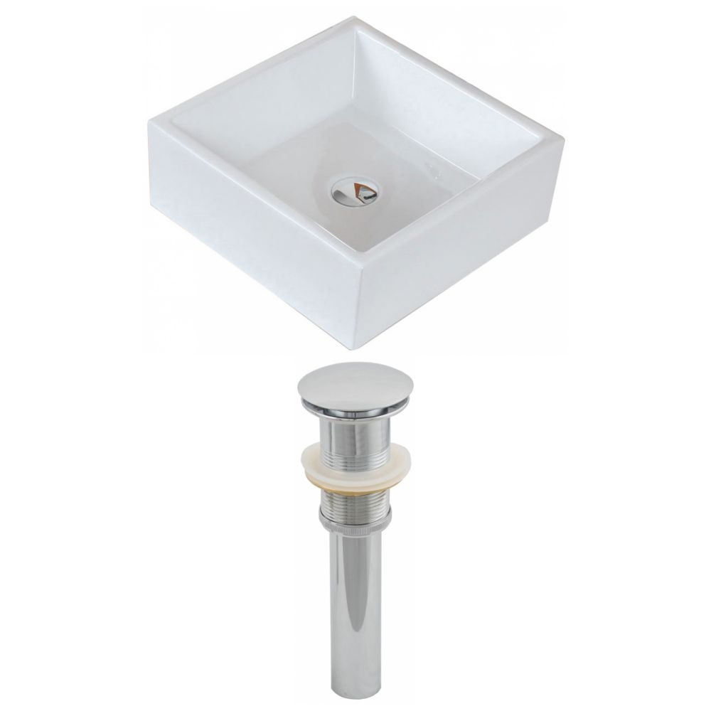 15-inch W x 15-inch D Square Vessel Sink in White with Drain