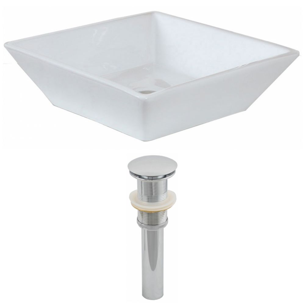 16-inch W x 16-inch D Square Vessel Sink in White with Drain