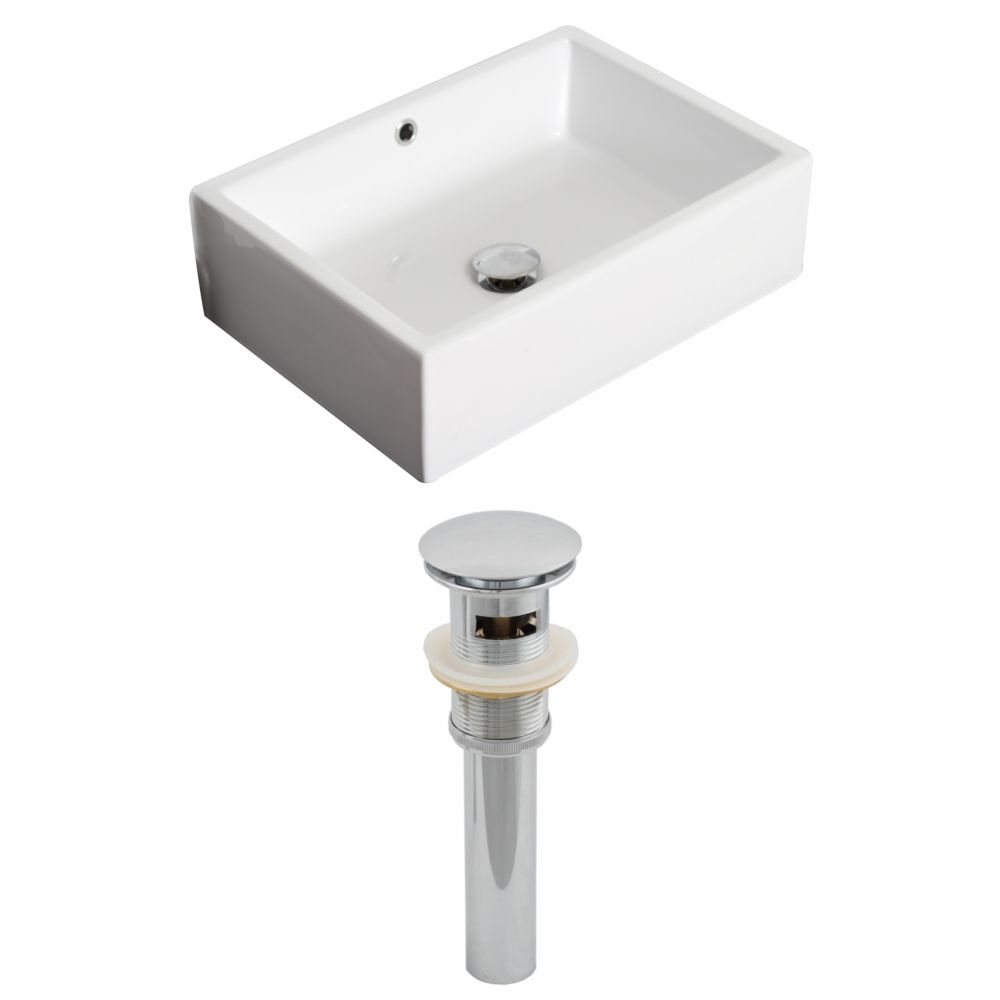 20-inch W x 14-inch D Rectangular Vessel Sink in White with Drain