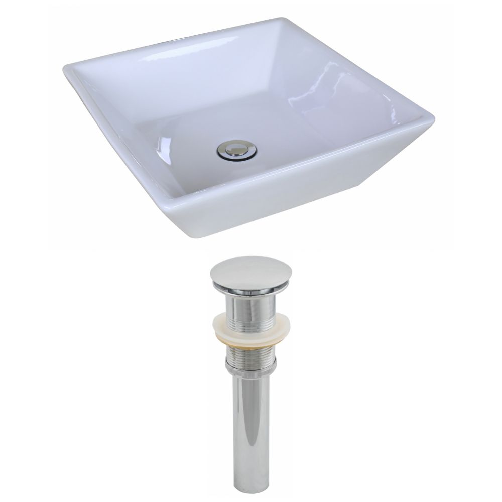 16 1/8-inch W x 16 1/8-inch D Square Vessel Sink in White with Drain