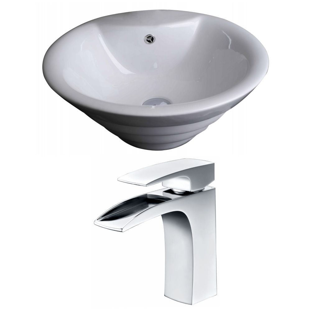 19-inch W x 19-inch D Round Vessel Sink in White with Faucet