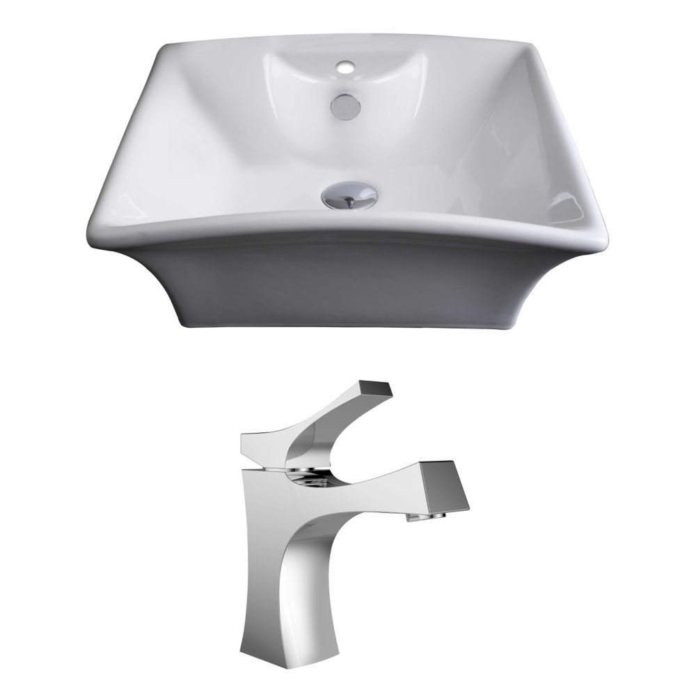 20-inch W x 17-inch D Rectangular Vessel Sink in White with Faucet