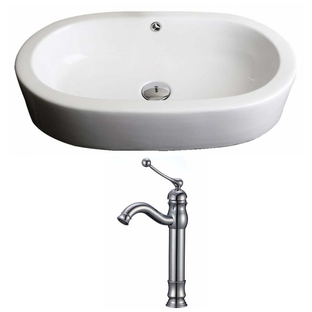 American Imaginations 25-inch W x 15-inch D Oval Vessel Sink in White with Deck-Mount Faucet