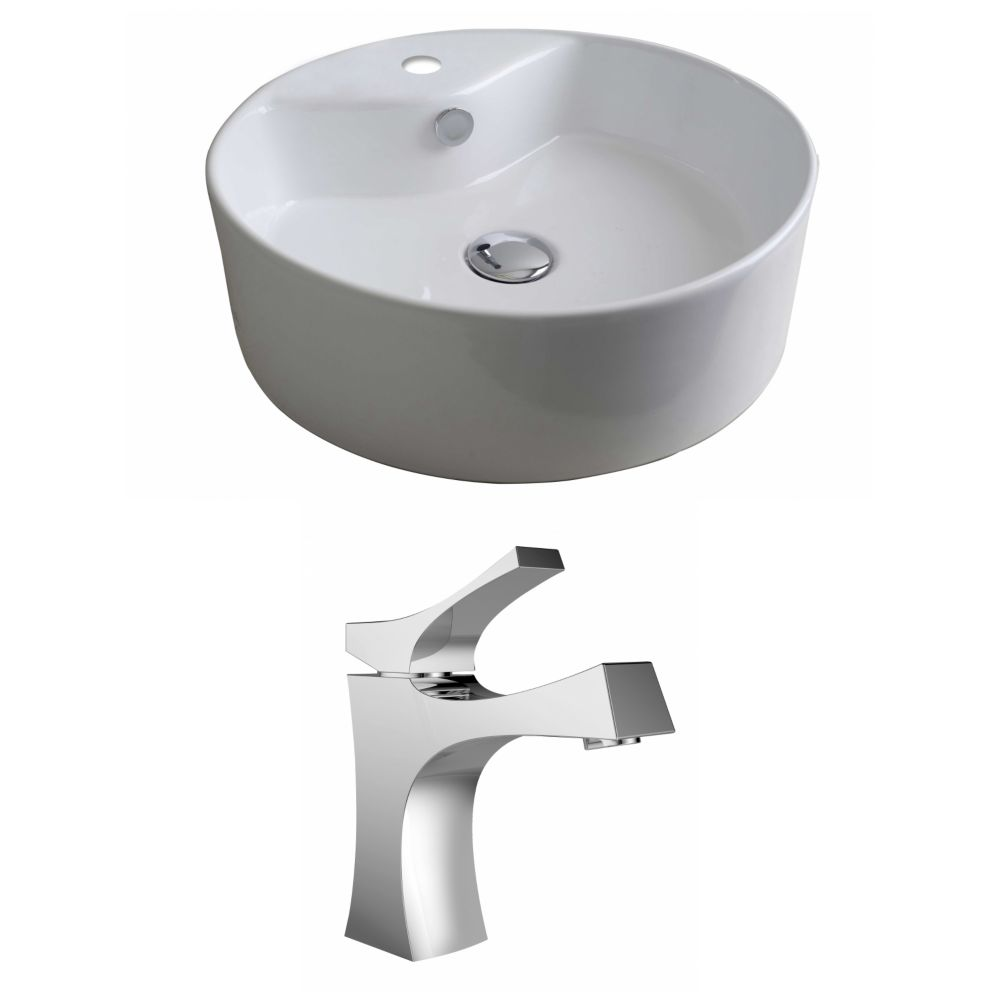 American Imaginations 18-inch W x 18-inch D Round Vessel Sink in White with Deck-Mount Faucet