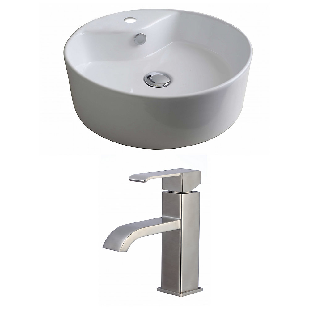 18-in. W x 18 po. D navire Round Set In White Couleur Avec Single Hole CUPC Robinet