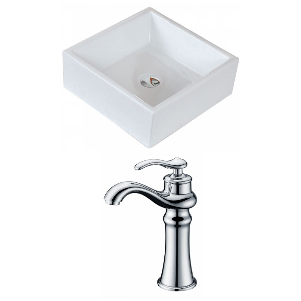 15-inch W x 15-inch D Square Vessel Sink in White with Deck-Mount Faucet