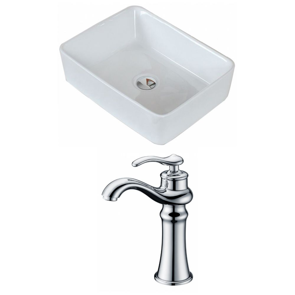 19-inch W x 14-inch D Rectangular Vessel Sink in White with Deck-Mount Faucet